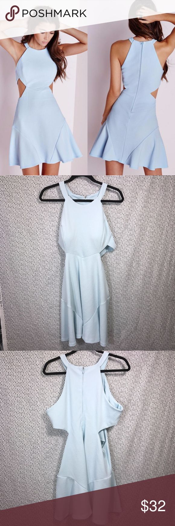 Missguided Stretch Blue Crepe Cut Out Skater Dress * Missguided Stretch Powder Blue Crepe Cut Out Skater Dress * Size 16 * Made of 96% polyester & 4% spandex.  * Pre-owned, but in great used condition. No holes, stains or pilling.  * Measurements: Underarm to underarm is 19 inches. Length is 31 1/2 inches. Missguided Dresses Mini