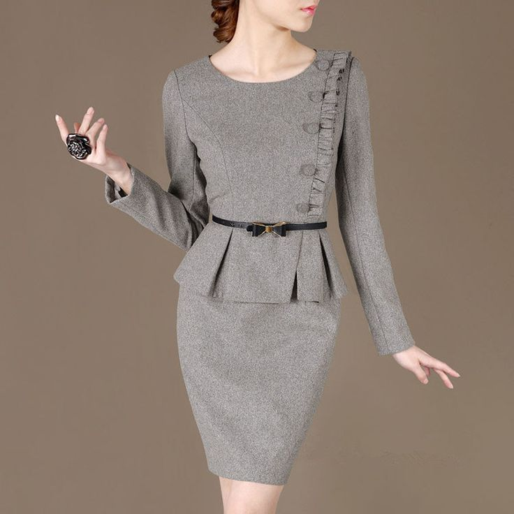 Free shipping Discount for 2014 January Winter Wool Dresses Grey Office Outfit Simple Elegant Dress Woolen Suits Plus size