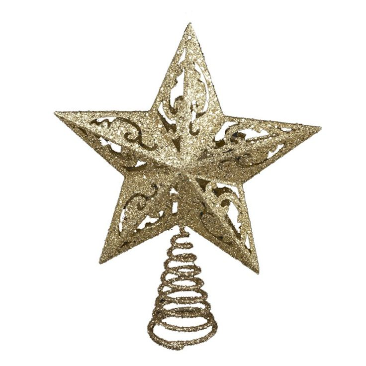 Gold Glittered 5 Point Star Treetop