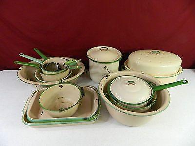 Vintage-Enamelware-Cream-amp-Green-Lot-of-14-Pieces-Enamel-Ware-Dinnerware