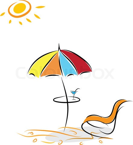Image of Beach chair and umbrella with cocktail Vector illustration