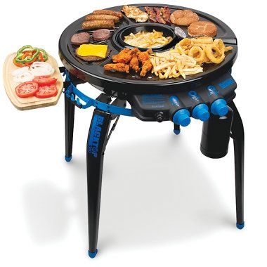 The Deep Frying Portable Grill-This is the portable grill and deep fryer that allows cooks to make crispy hors d'oeuvres and sear steaks or hamburgers simultaneously. A reservoir in the center of the grill holds up to 16 oz. of cooking oil and fries up to four servings of chicken wings or french fries.