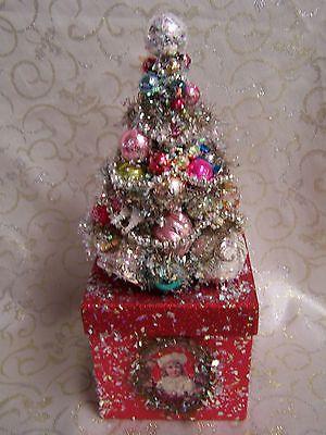 vintage decorated bottle brush tree - Ebay Christmas Trees
