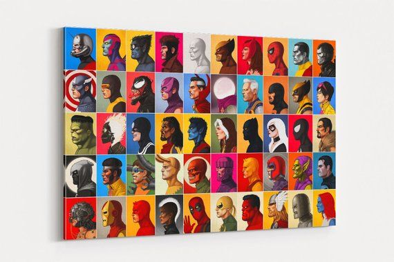 DC COMICS SUPER HERO COLLAGE Canvas Wall Art Framed Print Various sizes