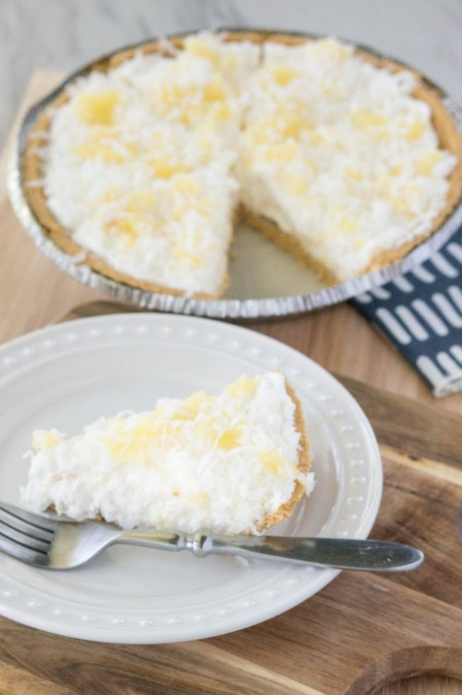 No-bake pineapple cream pie is a dream come true! You'll need just 6-ingredients and about 5 minutes for prep.