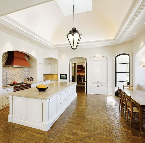 Grand Versailles parquetry panels in the kitchen.