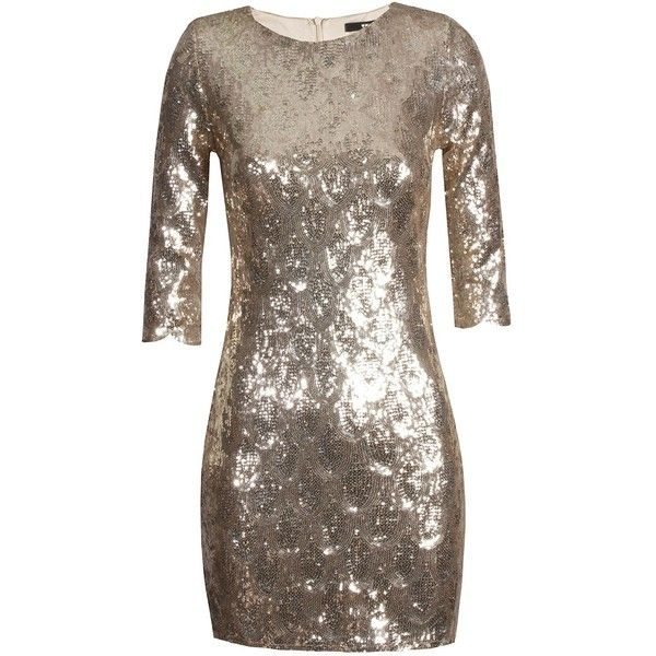 TFNC Paris Scallop Gold Sequin Dress ($40) ❤ liked on Polyvore featuring dresses, tfnc dresses, sequin embellished dress, gold dress, scalloped sequin dress and scallop trim dress
