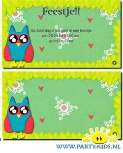 uitnodigingen - Uil uitnodiging of verjaardagskaart