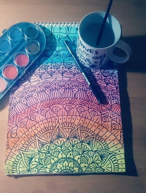 Zentangle art con acuarelas inspirado de un video de Dani Hoyos.