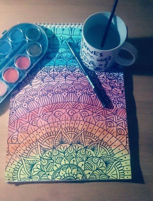 Zentangle art con acuarelas inspirado de un video de Dani Hoyos.
