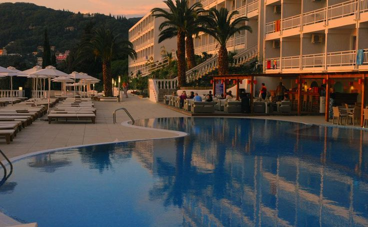 Pool area at sunset. #Greece #Corfu