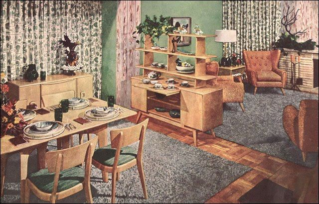 Best 1950S Dining Room Living Room Vintage Interior 640 x 480