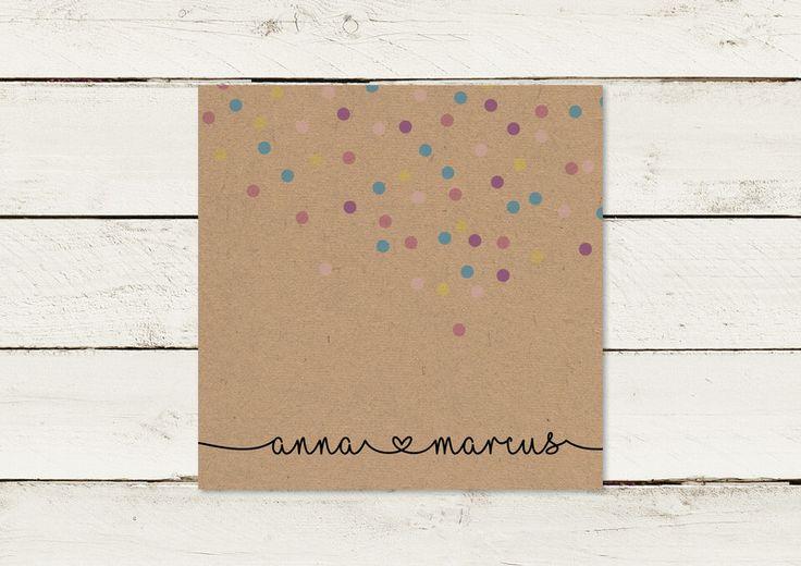 Einladungskarten – Hochzeitseinladung   Kraftpapier   Quadrat   No 2 – ein Desig…