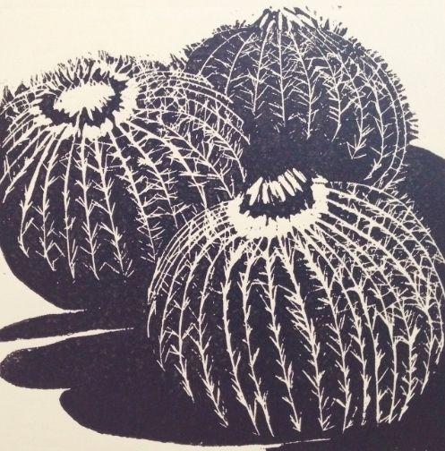 "Cactus by Jill Kantor Linocut ~ 12"" x 12"""