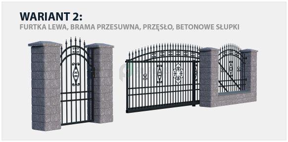 Ogrodzenie Alicja 2 w wariancie z bramą przesuwną i betonowymi słupkami.