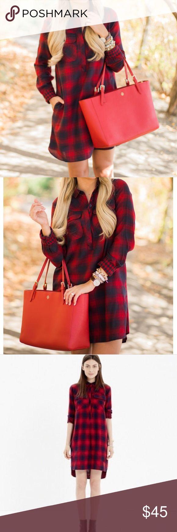 J. Crew • Plaid flannel shirt dress J. Crew factory navy/red plaid flannel shirt dress. Size XXS. Breast pocket detail. Good condition. J. Crew Dresses Mini
