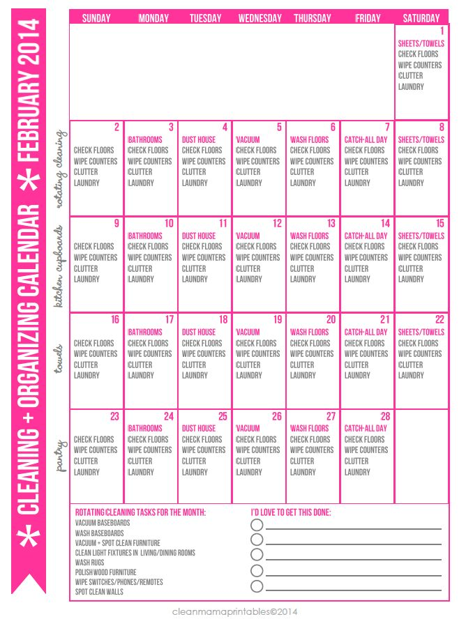 Get started on the road to a more clean and organized house with this FREE printable. February 2014 Cleaning + Organizing Calendar via Clean Mama