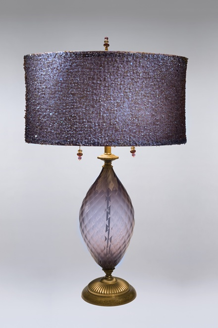 Purple Kinzig Lamp With Sequined Shade