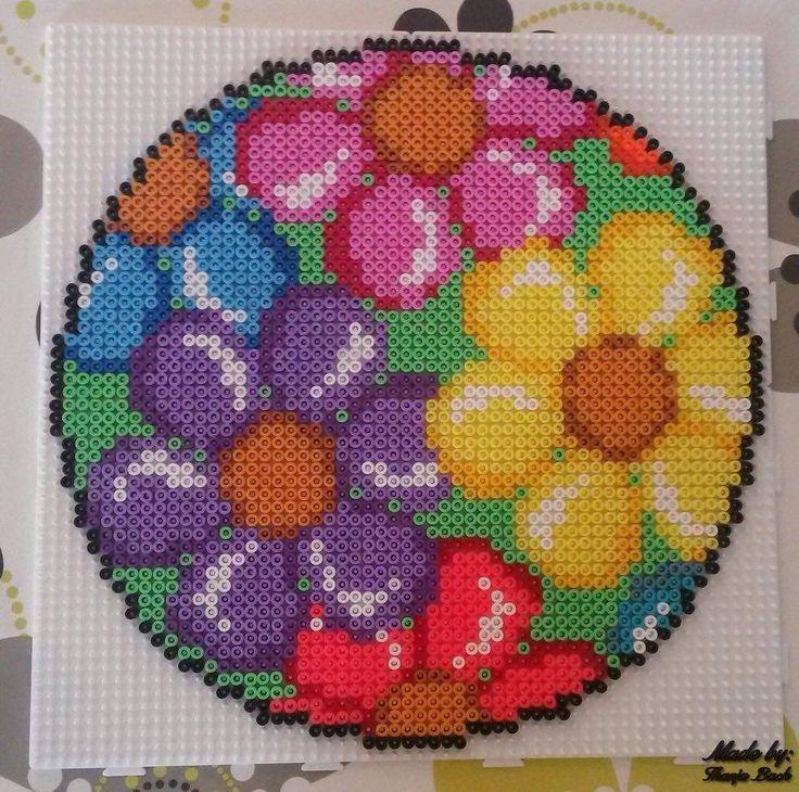 Floral decoration hama perler beads
