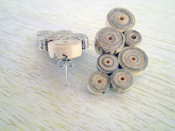 Old Newspaper Earrings Recycled Vintage Paper Jewelry Eco Friendly Beige Stud Earrings FREE SHIPPING / Σκουλαρίκια από παλιό χαρτί