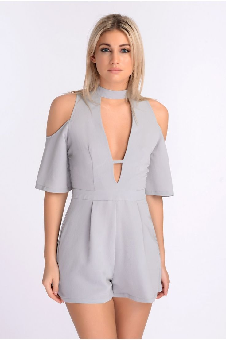 RHEA GREY COLD SHOULDER HIGH NECK.  PLUNGE PLAYSUIT. xx