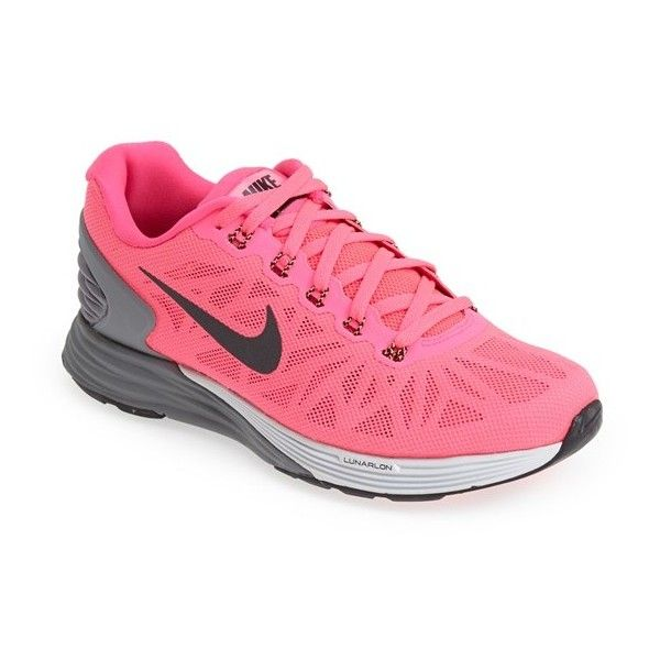 Nike 'Lunarglide 6' Running Shoe ($66) ❤ liked on Polyvore featuring shoes, athletic shoes, hyper pink, wrap shoes, breathable running shoes, pink running shoes, lightweight shoes and nike athletic shoes