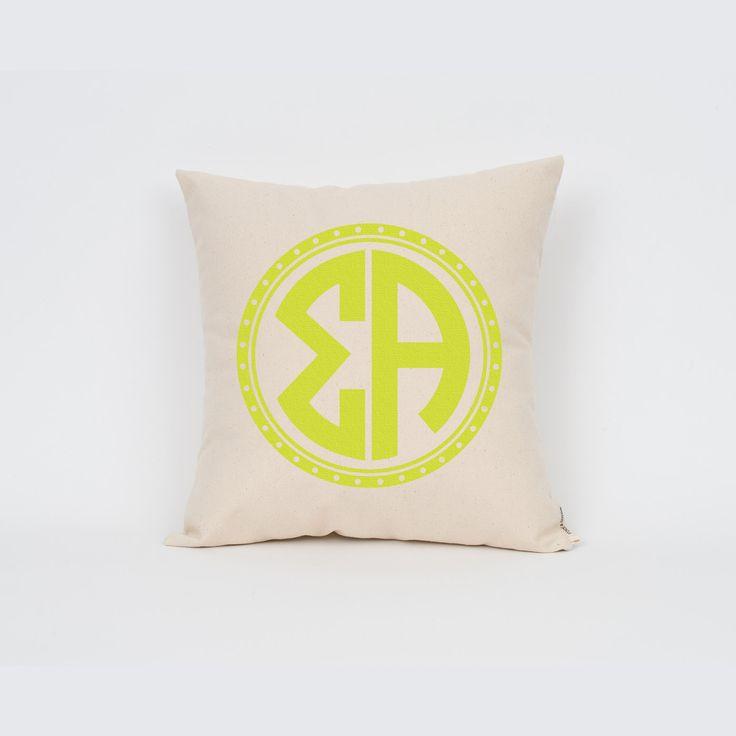 Sigma Alpha ΣΑ Circle Monogram Pillow Sorority by Sororitee