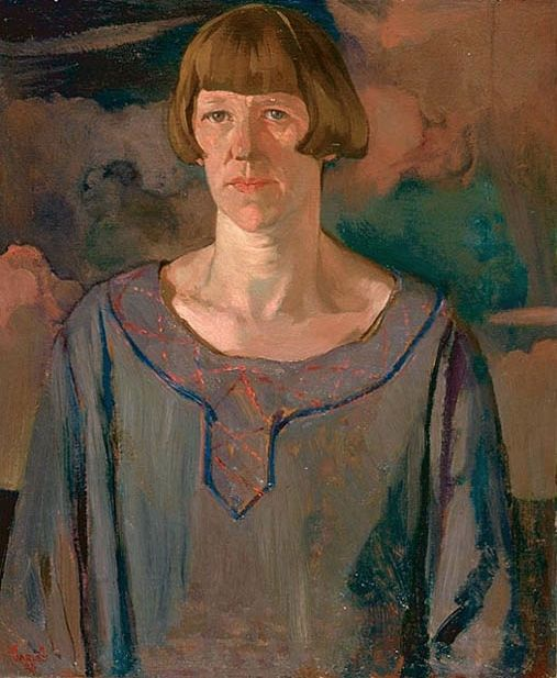 Frederick Varley (England 1881-1969 Canada), Maud, oil on canvas, mounted on beaverboard. Maud Pinter was Varley's wife. If she complained about lacking funds to manage the household, Varley told her she was bourgeois. Meanwhile he maintained a string of mistresses. Collection National Gallery of Canada.