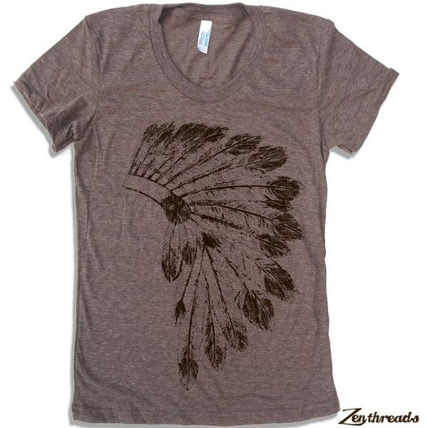 Womens Native American HEADDRESS american apparel T Shirt S M L XL (16... ($18) ❤ liked on Polyvore featuring tops, t-shirts, american apparel t shirts, brown tee, brown t shirt, brown tops and american indian t shirts