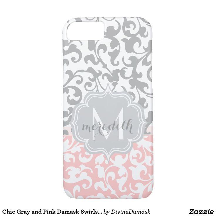 Chic Gray and Pink Damask Swirls Monogram iPhone 7 Case
