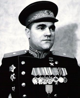 Major-General Avdeenko Pyotr Petrovich (1900 - 1956) - Soviet military leader, a participant of the Civil and the Great Patriotic (WWII in Russia) wars, the Hero of the Soviet Union. Commanded of the 457th Rifle Regiment of the 53rd Rifle Division (1941), the 350th Rifle Division (1941-1942, removed from command), the 240th Rifle Division (1942-1943), the 51st Rifle Corps - II formation (1943-1944) and the 24th Guards Rifle Corps (1944 - Liberation of Romania).