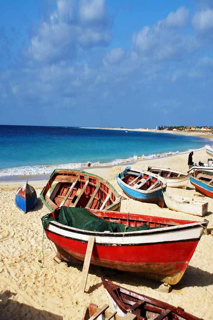 Praia de Santa Maria on the Island of Sal, Cape Verde is a local favorite of a beach town. Great seafood is served throughout.