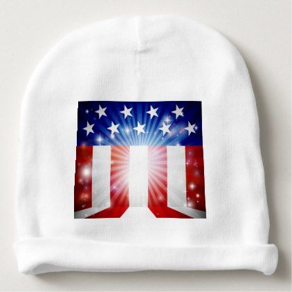 #American Flag Background Baby Beanie - #4thofjuly #patriotic #patriot Independence Day Fourth of July July Fourth waving the flag