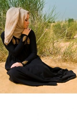 QASBA - A unique Abaya embroidered with rustic gold silk threads, this Abaya has sensational flow & beautiful detailed embroidery makes this is a timeless classic with an edge from empires of time past.