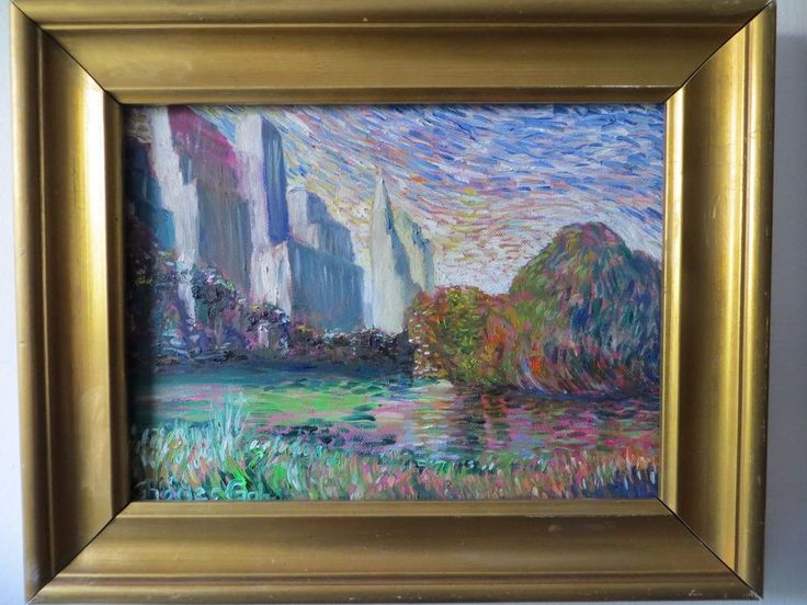 """Original Oil Painting, signed and dated by Charles Goh, """" View of Central Park """" #NeoImpressionism"""