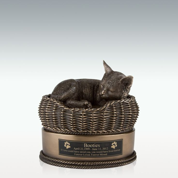 Bronze Cat in Basket Cremation Urn - Personalize