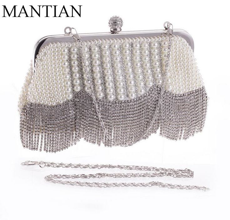 Imitation pearl women shell bags clutch evening bags tassel fashion ladies diamonds beaded evening bags
