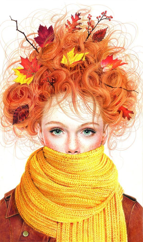 Gorgeous & Vibrant Colored Pencil Illustrations Of Beautiful Girls As Seasons - DesignTAXI.com