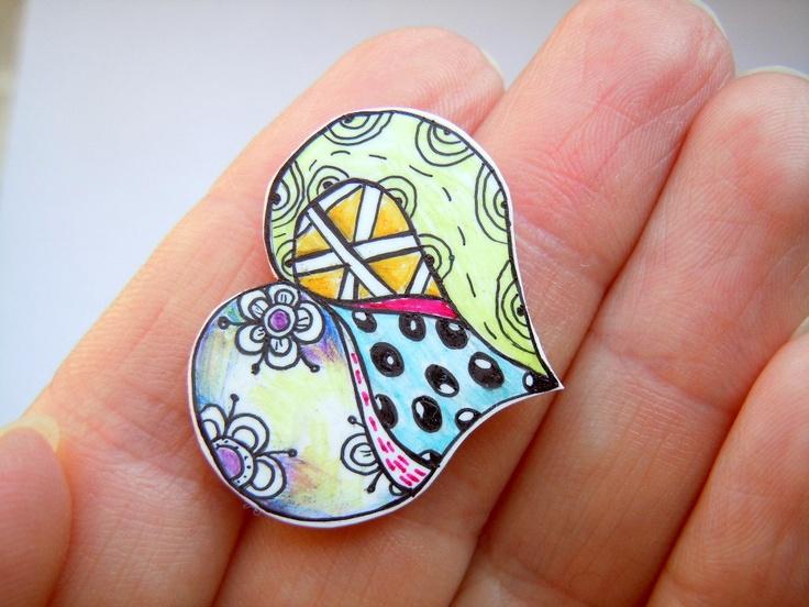 Zendoodle heart brooch-shrink plastic brooch - doodle design - hand drawn hand cut .. $9.60, via Etsy.