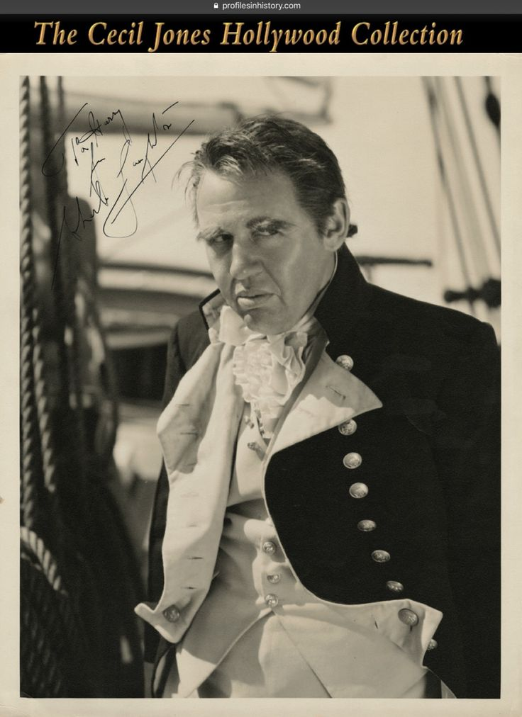 "Charles Laughton (Different photo same image) - [Mutiny on the Bounty] Vintage original gelatin silver double-weight glossy 11 x 14 in. photograph by William Grimes from Mutiny on the Bounty. (MGM, 1935) Charles Laughton as ""Captain Bligh"" photo inscribed and signed, ""To Harry from Charles Laughton"". Stunning photo of Laughton in his most memorable role."