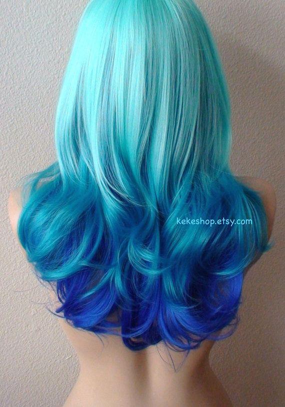 Mint blue / Teal / Electric blue Ombre wig. Blue color ...