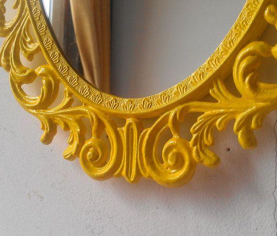 Yellow Wall Mirror Boho Chic Dorm Retro Kitchen Yellow $56 etsy