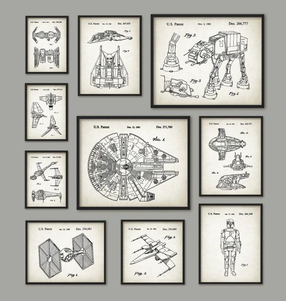 Star Wars Patent Art Print Set of 10 - Millennium Falcon - At At - Snowspeeder - Slave 1 - B-Wing - TIE Fighter - Shuttle - Science Fiction