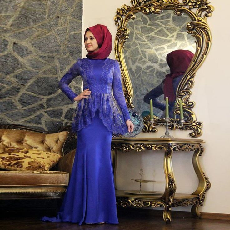 Muslim Evening Dresses Long Sleeves Royal Blue Lace Appliques Formal Gowns Pink Dubai Indian Dresses vestido de festa real photo AidilAdha <3 AliExpress Affiliate's Pin.  Detailed information can be found on AliExpress website by clicking on the image