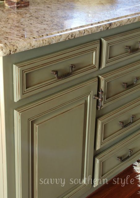 The blogger who painted these cabinets did a fantastic job on the project and on documenting it. Terrific idea! I can use this for some furniture that I trash picked. :)