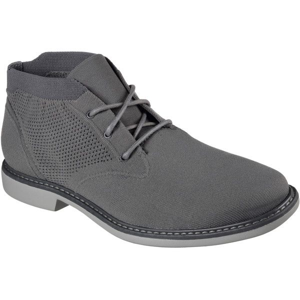 Skechers Men's Weldon Gray - Skechers ($99) ❤ liked on Polyvore featuring men's fashion, men's shoes, grey, vans chukka low mens shoes, mens grey shoes, men's low top shoes, mens chukka shoes and mens shoes