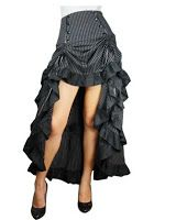 From the Steampunk Fashion Guide to Skirts & Dresses: High-Low Hem Skirts - three tiered tail gothic black pinstripe skirt