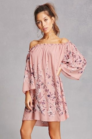 A woven shift dress featuring an allover floral print, ruffled off-the-shoulder neckline, and 3/4 bell sleeves.<p>- This is an independent brand and not a Forever 21 branded item.</p>