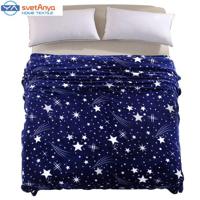 150*200 cm spazio Stella stile coperte di Flanella pile Plaid morbido letto coperta stampa/divano Getta moda Plaid