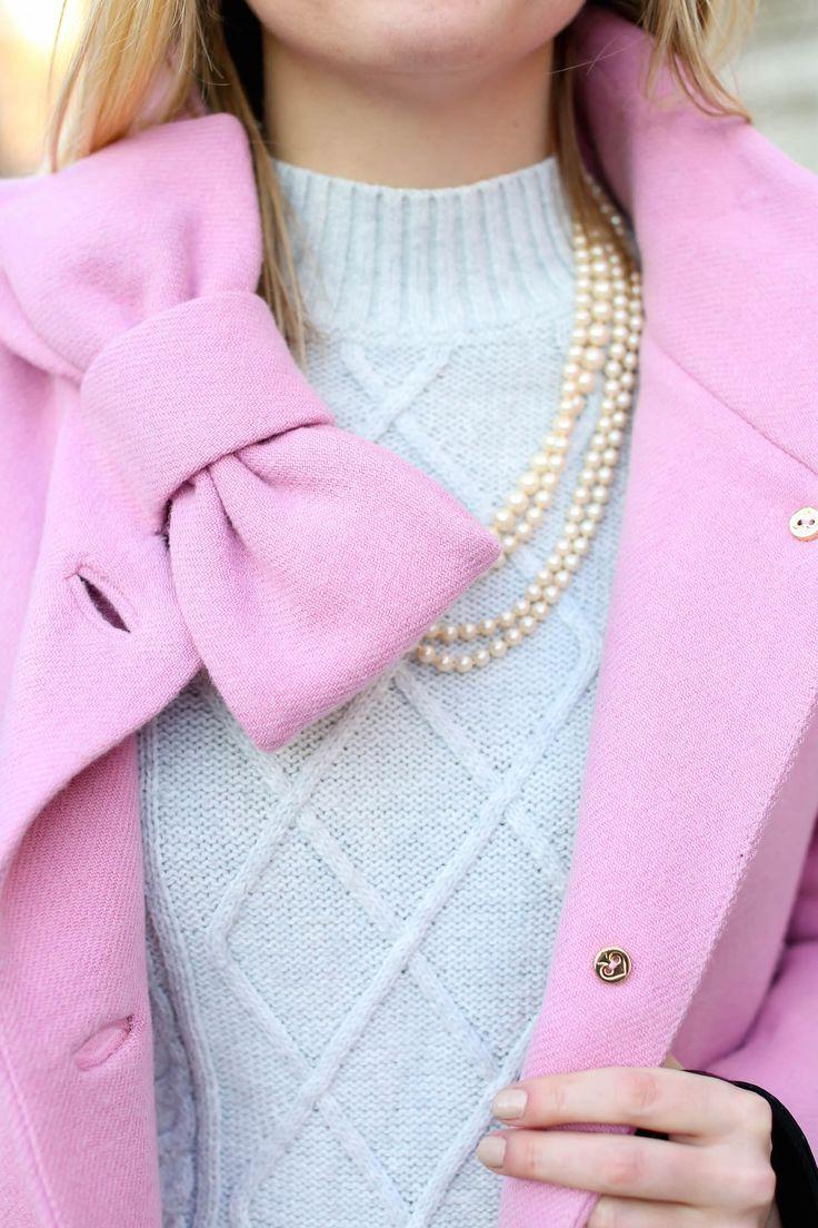 So so in love with this Kate Spade Bow Coat!  More preppy ootd inspiration --> www.eva-darling.com  INSTAGRAM --> @eva_phan